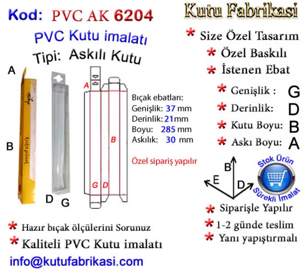 Hazır Askılı PVC PVC kutu 6204 Matbaa Baskı İmalat Matbaacı