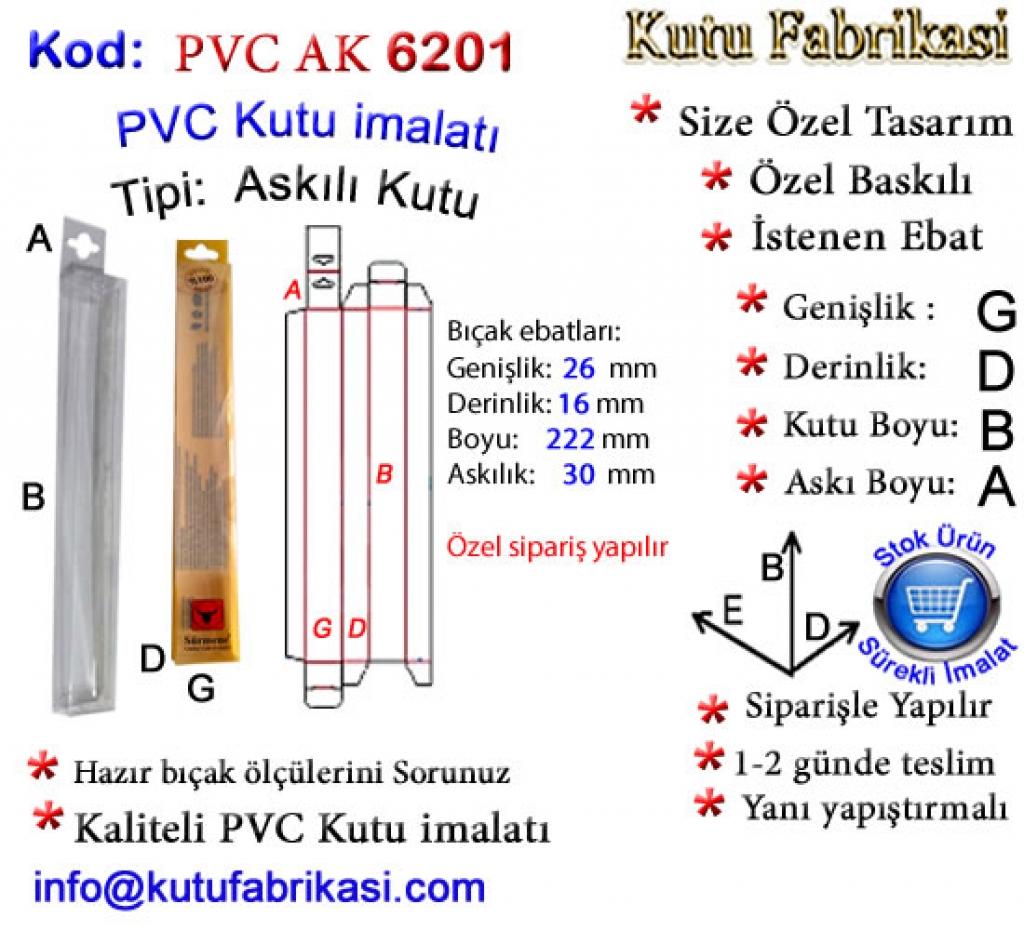 Askılı PVC PVC kutu 6201 Matbaa Baskı İmalat Matbaacı