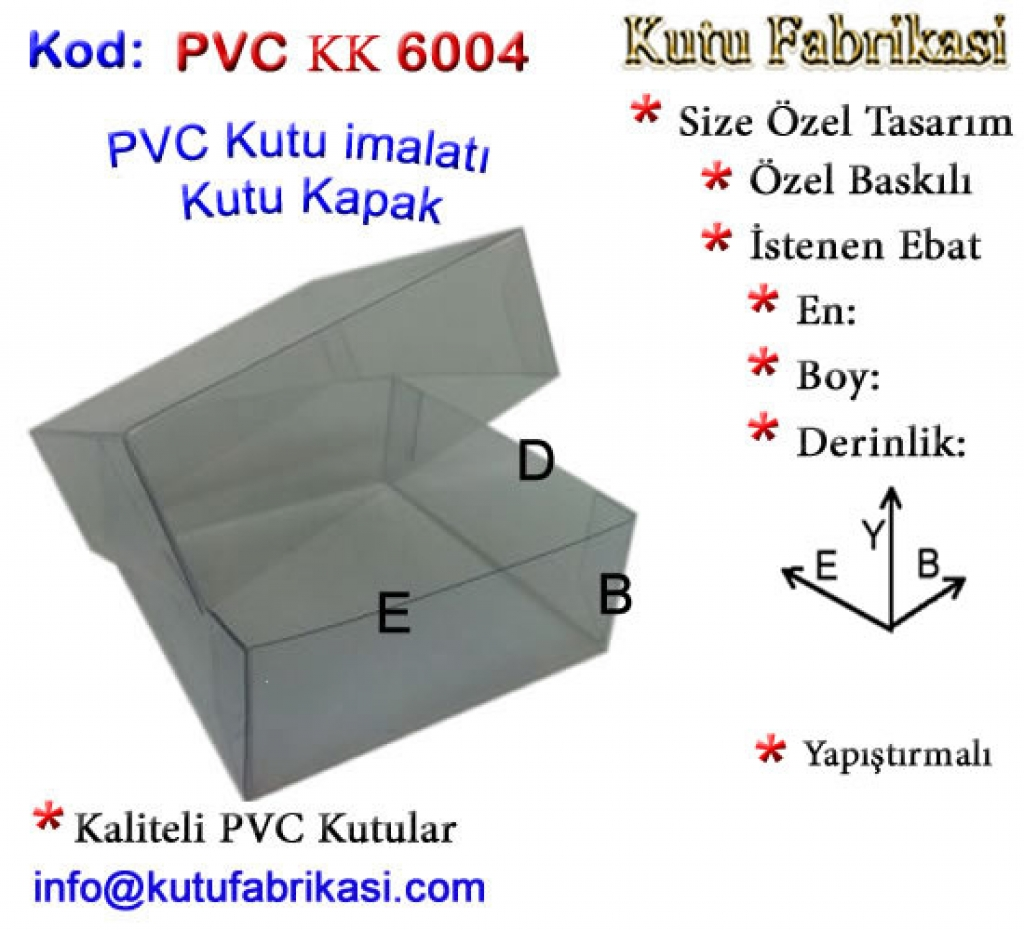 Özel Sipariş PVC Kutu imalatı 6004 Kutucu Kutu İmalatı Toptan Kutu
